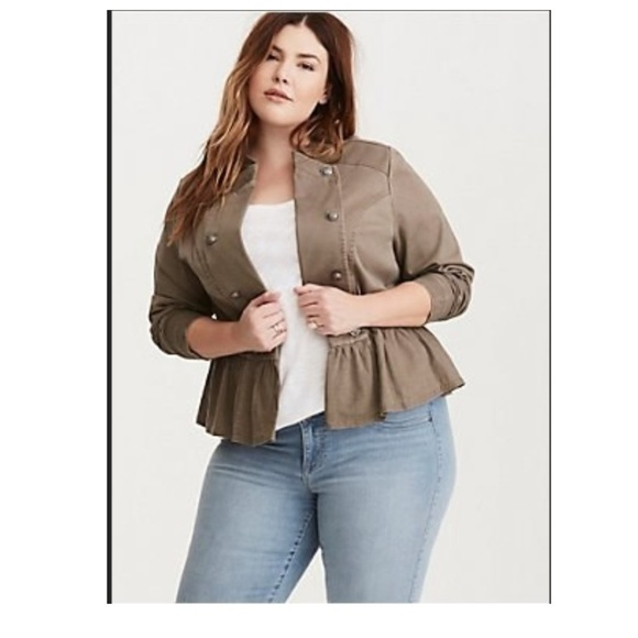 97f29defa90 Grey Peplum Twill Military Jacket